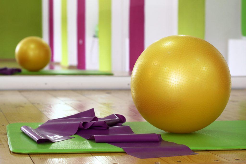 Fitness equipment - yoga ball, yoga mat, elastic bands