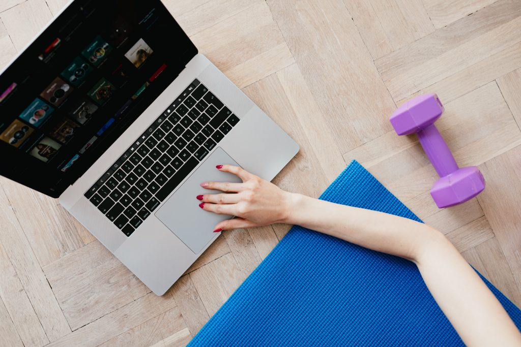 A person getting ready to learn how to be an online personal trainer - from above