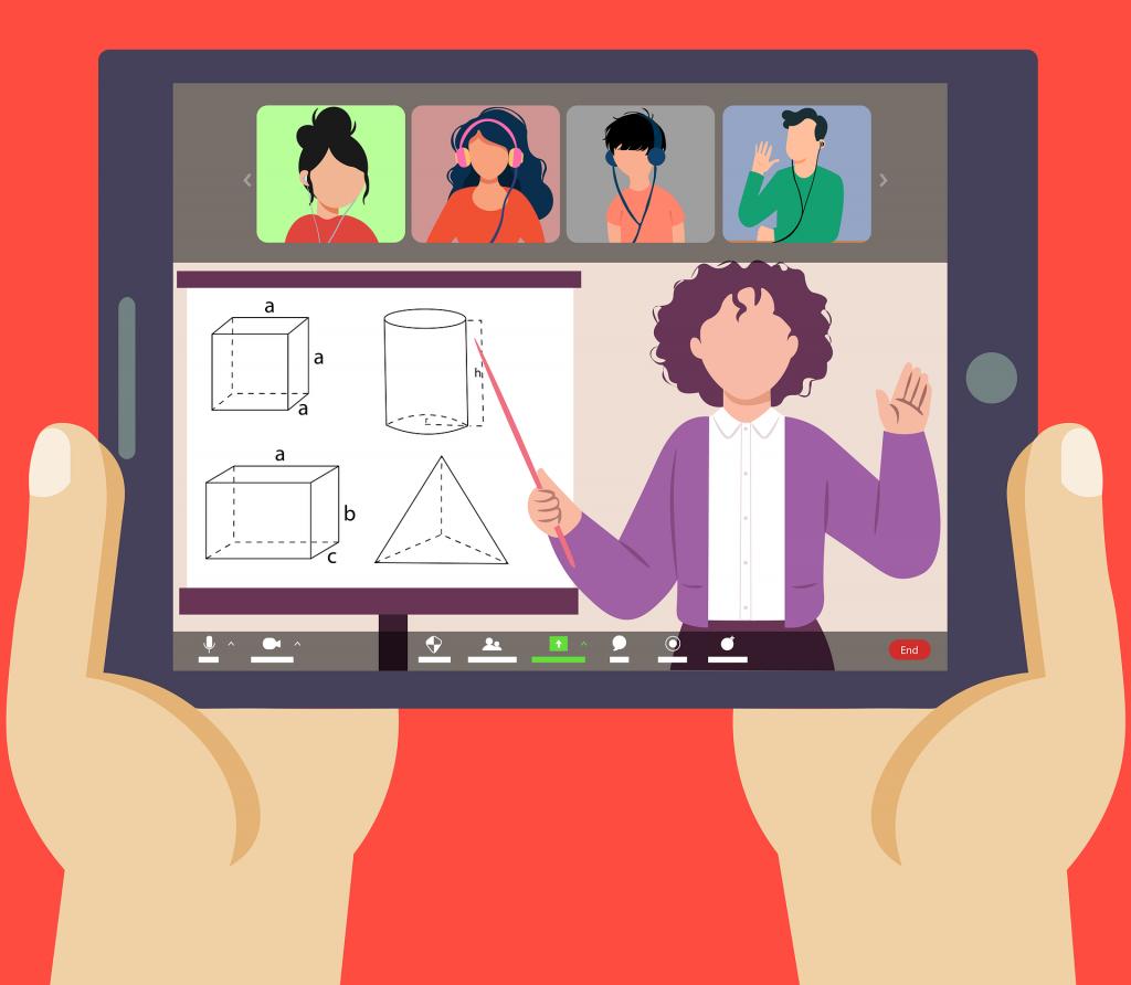 An online teacher giving an online maths class to 4 other students