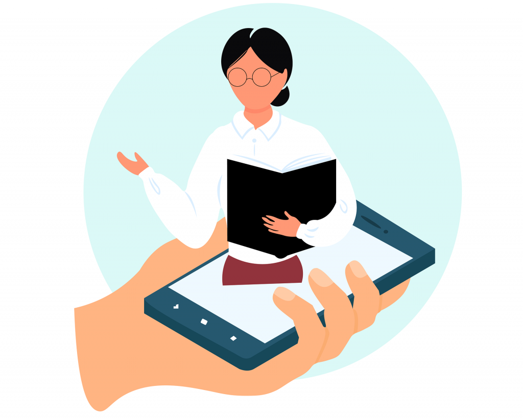 An online teacher giving a lesson via a mobile phone