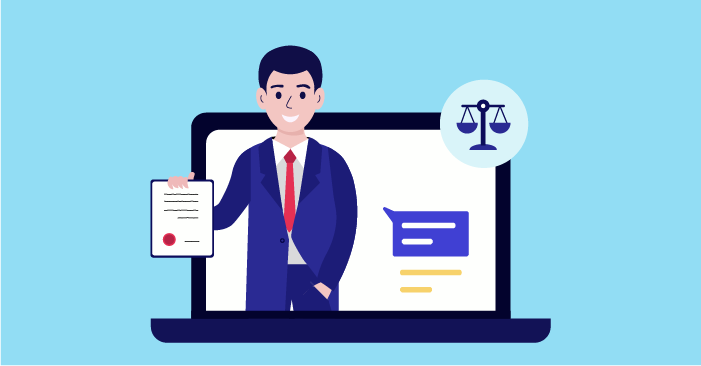 a lawyer providing online consultations