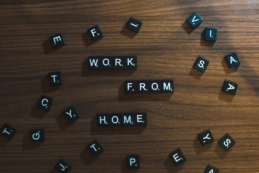 """How to start online consultation - Scrabble tiles displaying """"Work from home"""""""