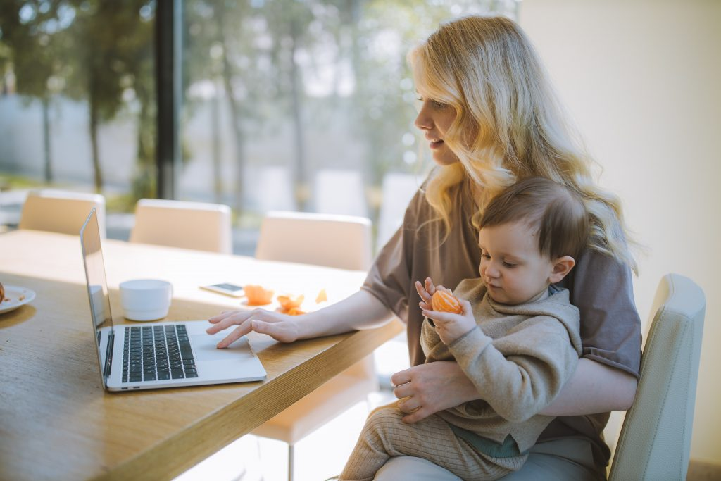 A mum working from home