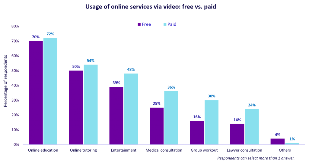 Usage of online services via video: free vs. paid