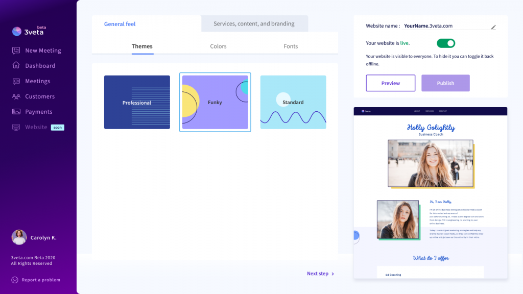 3veta website builder - look and feel