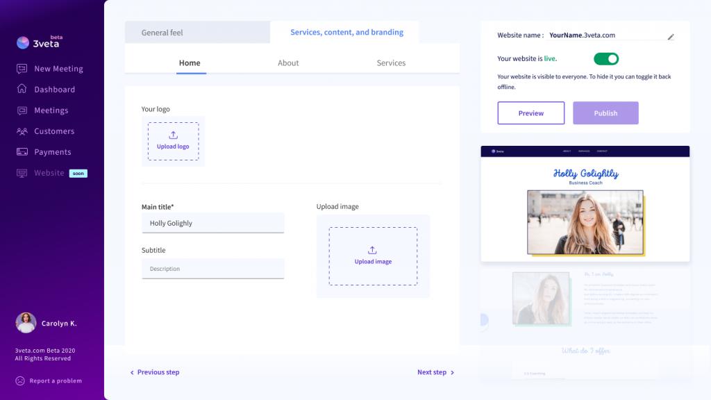 3veta website builder - your information