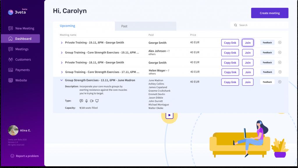 How does 3veta dashboard look for online meetings