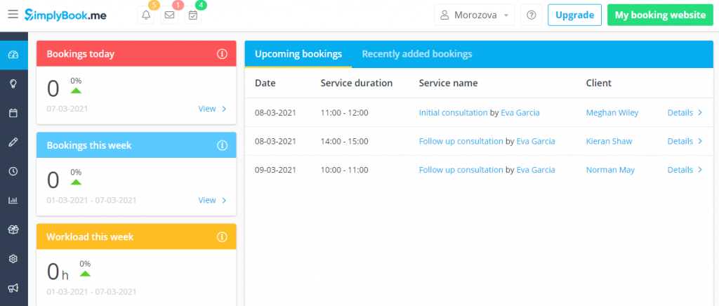 Simplybook.me's user dashboard